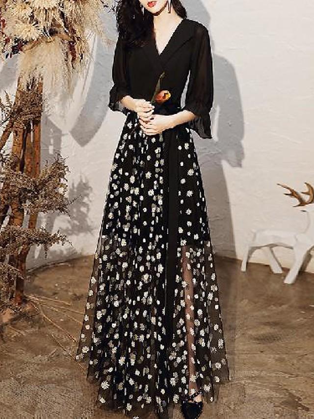Sheath / Column Floral Boho Wedding Guest Formal Evening Dress V Neck Half Sleeve Floor Length Spandex Tulle with Pattern / Print 2020