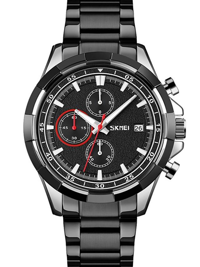 SKMEI Men's Steel Band Watches Quartz Modern Style Calendar / date / day Analog Black / Silver Black Blue / Stainless Steel