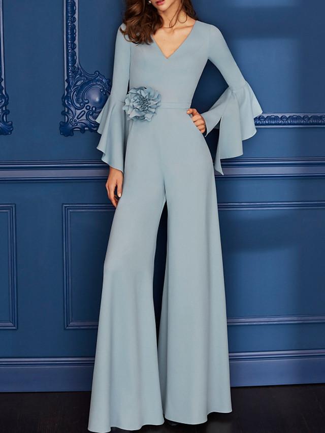 Jumpsuits Minimalist Elegant Engagement Formal Evening Dress V Neck Long Sleeve Floor Length Chiffon with Ruffles 2020