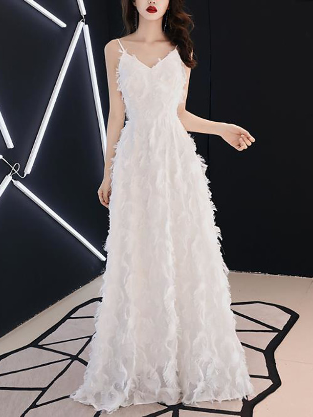 A-Line Empire Elegant Wedding Guest Formal Evening Dress V Neck Sleeveless Floor Length Jersey with Feather 2021