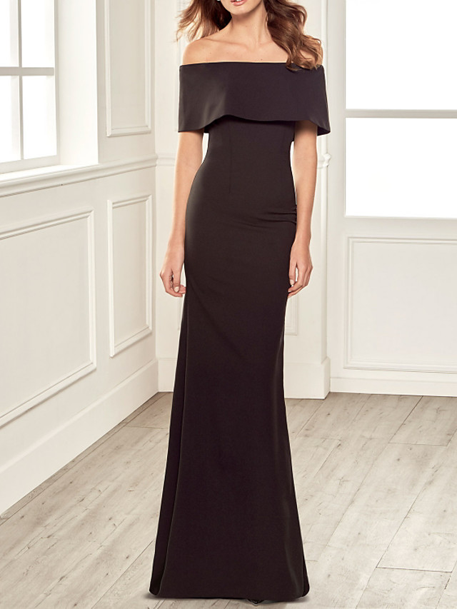 Sheath / Column Minimalist Elegant Engagement Formal Evening Dress Off Shoulder Short Sleeve Floor Length Stretch Fabric with Sleek 2021