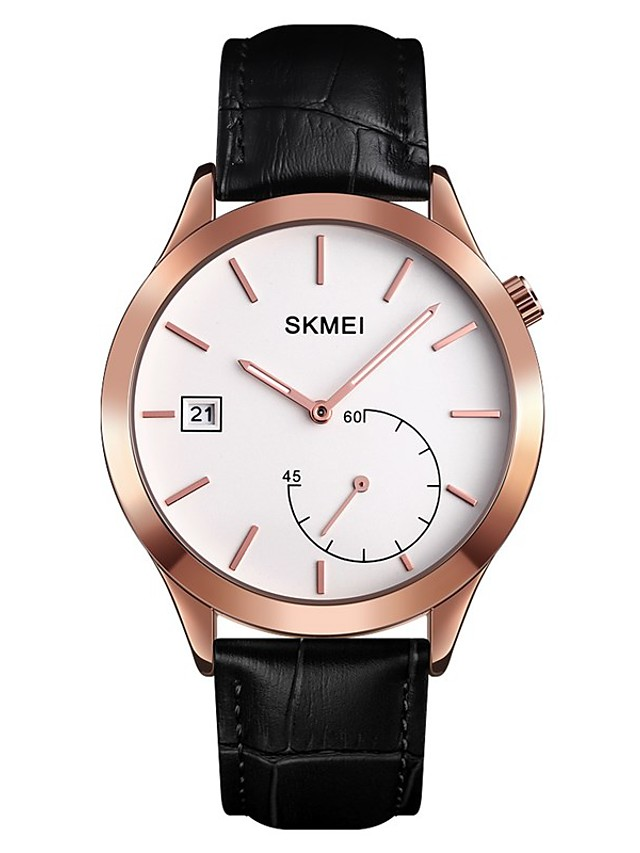 SKMEI Men's Dress Watch Quartz Modern Style Calendar / date / day Analog Black / Silver Black+Gloden Silver / One Year / Stainless Steel / Genuine Leather / Japanese / Genuine Leather