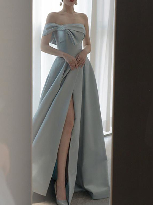 A-Line Elegant Sexy Engagement Formal Evening Dress Strapless Sleeveless Floor Length Satin with Split 2020