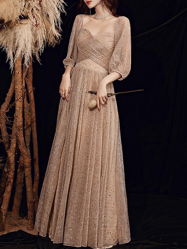 A-Line Glittering Elegant Wedding Guest Formal Evening Dress Sweetheart Neckline Long Sleeve Floor Length Spandex with Criss Cross Sequin 2020