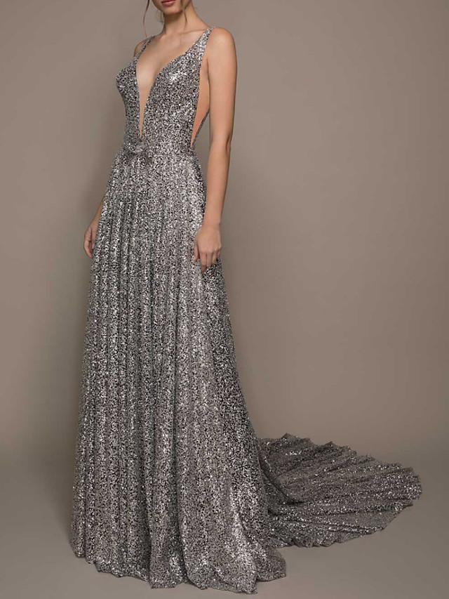 A-Line Beautiful Back Sexy Engagement Formal Evening Dress V Neck Sleeveless Court Train Sequined with Pleats Sequin 2021
