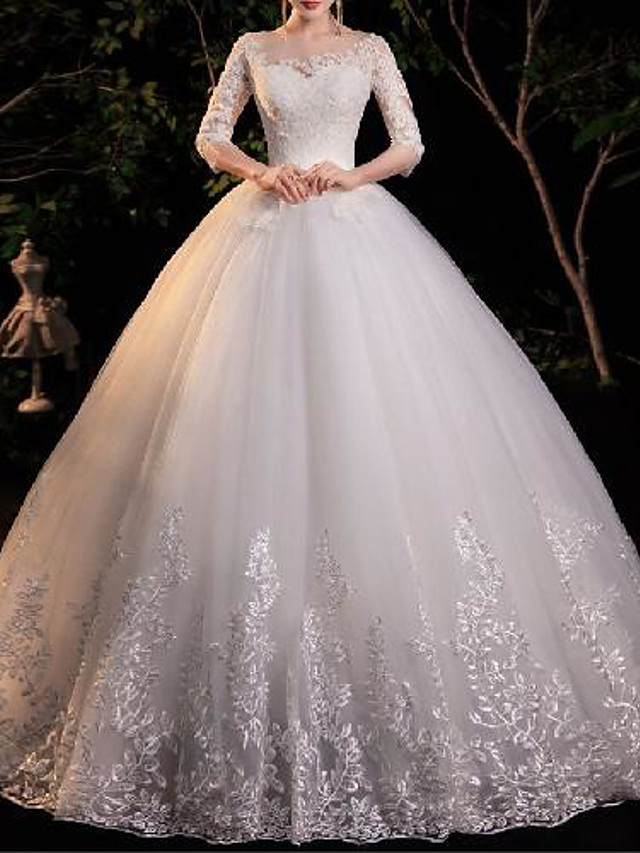 Princess Ball Gown Wedding Dresses Jewel Neck Floor Length Lace Tulle Half Sleeve Formal Romantic Elegant with Appliques 2021