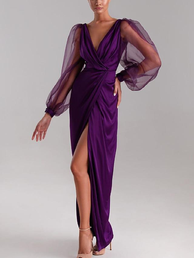 Sheath / Column Minimalist Sexy Wedding Guest Formal Evening Dress V Neck Long Sleeve Floor Length Charmeuse with Pleats Split 2021