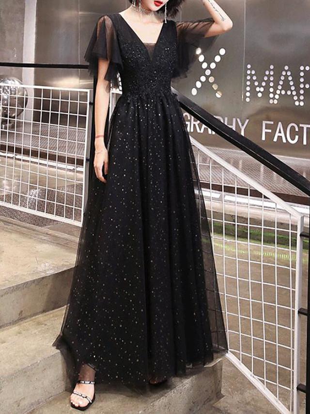 A-Line Glittering Elegant Prom Formal Evening Dress V Neck Short Sleeve Floor Length Tulle with Pleats Sequin 2020