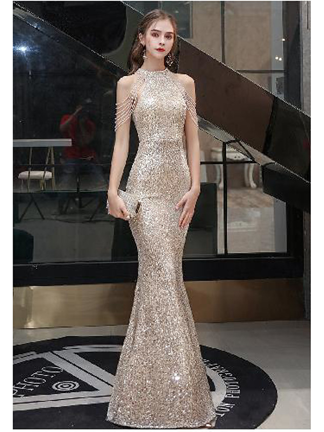 Mermaid / Trumpet Sparkle bodycon Engagement Prom Valentine's Day Dress Halter Neck Sleeveless Floor Length Sequined with Sequin Tassel 2021