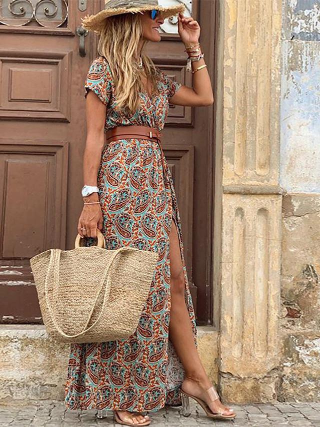 Women's Swing Dress Maxi long Dress Red Brown Short Sleeve Print Split Ruffle Button Spring Summer V Neck Vintage Boho Loose 2021 S M L XL XXL 3XL / Holiday