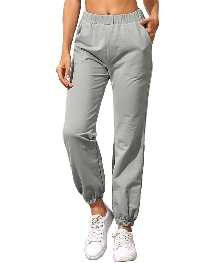 Women's Basic Casual Comfort Daily Jogger Sweatpants Pants Solid Color Full Length Pocket Gray