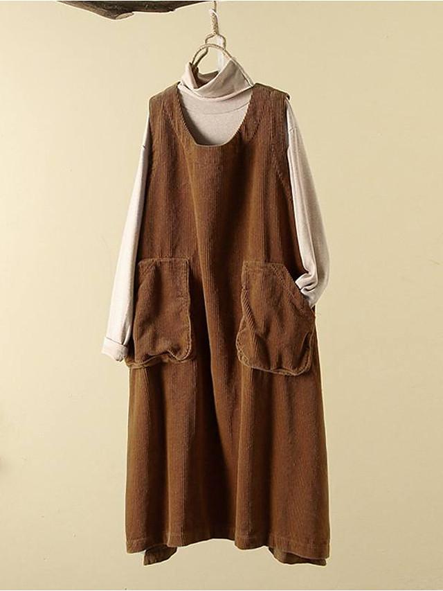 Women's Swing Dress Midi Dress - Sleeveless Solid Color Pocket Patchwork Fall Casual Cotton Loose 2020 Black Brown Gray M L XL XXL 3XL 4XL 5XL