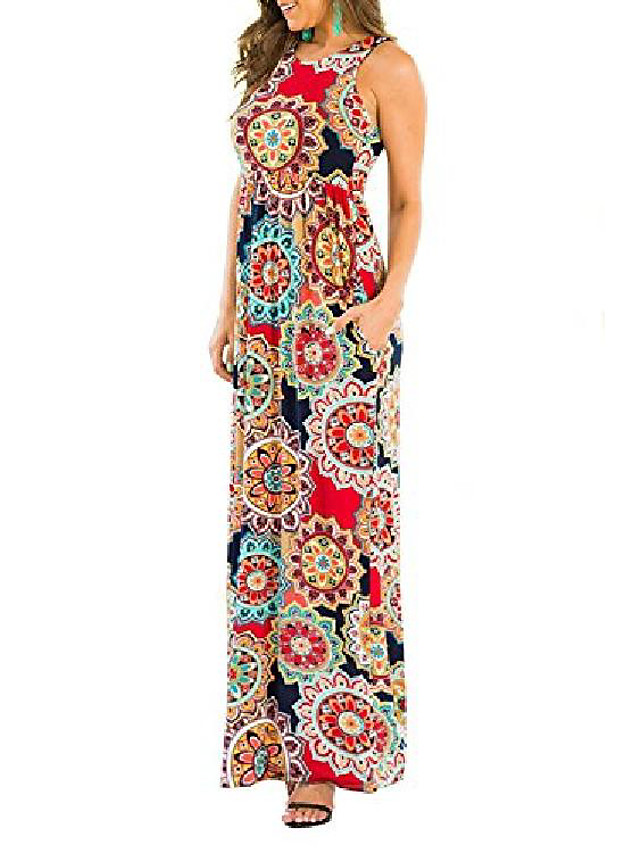 sleeveless maxi dresses for women, boat neck floral casual summer long dress with pockets