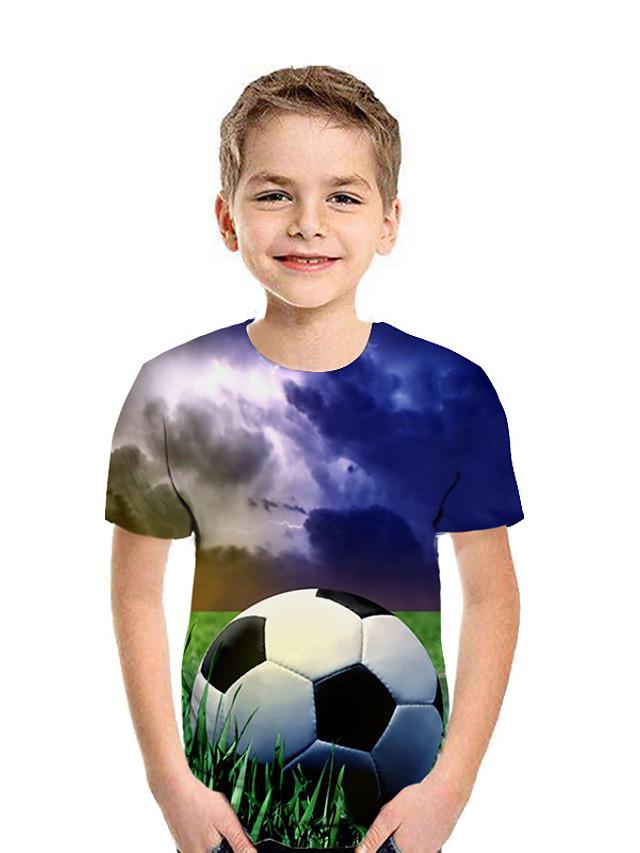 ילדים בנים חולצה קצרה טישירט שרוולים קצרים גראפי קולור בלוק 3D דפוס כחול ים יְלָדִים צמרות פעיל יום הילד