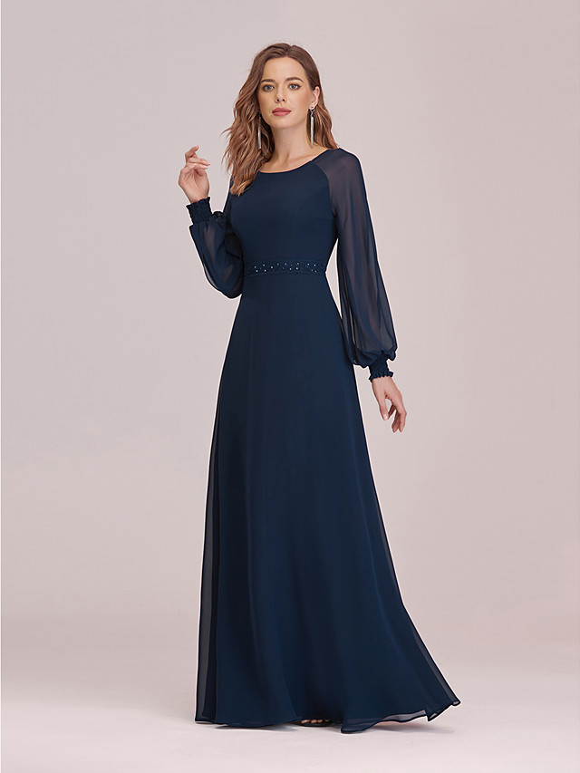 A-Line Empire Elegant Party Wear Formal Evening Dress Jewel Neck Long Sleeve Floor Length Chiffon with Sleek 2021