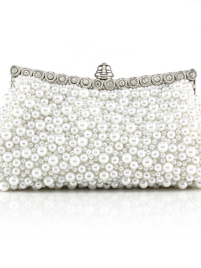 Women's Girls' Bags Synthetic Evening Bag Beading Solid Color Pearl Party Wedding Handbags Chain Bag White Black