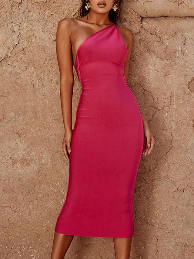 Sheath / Column Beautiful Back Sexy Party Wear Cocktail Party Dress One Shoulder Sleeveless Tea Length Spandex with Sleek 2020