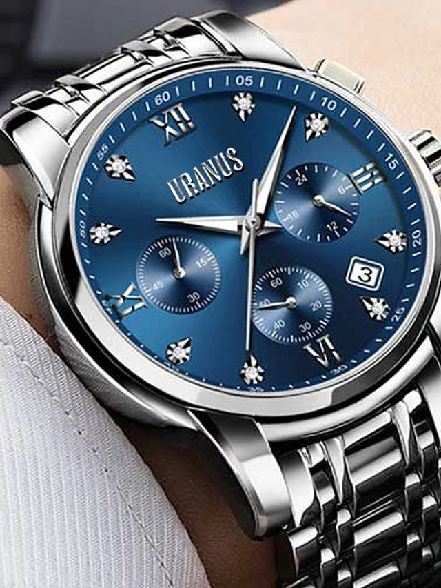ASJ Men's Dress Watch Quartz Formal Style Casual Water Resistant / Waterproof Calendar / date / day Analog White Black Blue / Two Years / Stainless Steel / Two Years / SSUO LR626