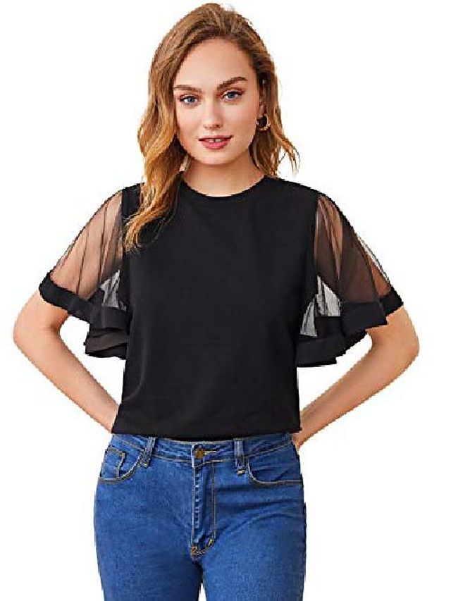 women's casual mesh ruffle short sleeve solid tops shirts blouse black x-large