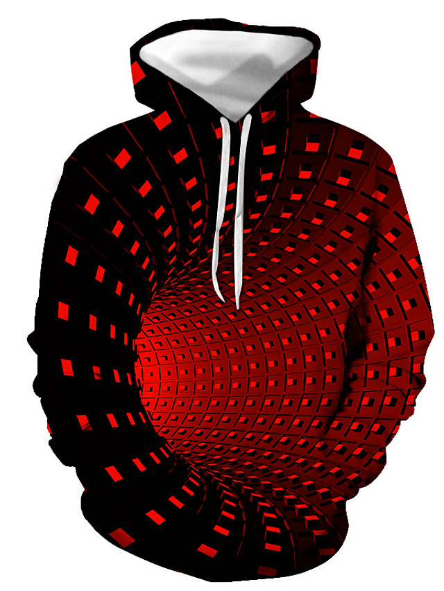 Men's Hoodie Color Block Geometric 3D Hooded Daily Holiday Streetwear Halloween Hoodies Sweatshirts  Black Purple Red