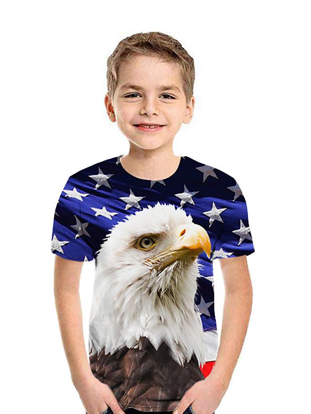 Barn Gutt T skjorte T-skjorte Kortermet Ugle Grafisk 3D Dyr Trykt mønster Blå Barn Topper Sommer Aktiv Barnas Dag