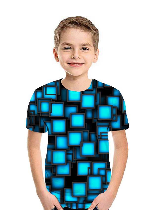 Lapset Poikien T-paita Lyhythihainen Kuvitettu Geometrinen 3D Painettu Uima-allas Lapset Topit Kesä Aktiivinen Lasten päivä