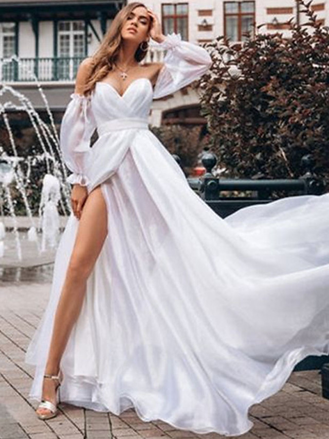 Women's Swing Dress Maxi long Dress White Long Sleeve Solid Color Backless Ruched Lace Fall Winter Strapless Elegant Sexy 2021 S M L XL XXL