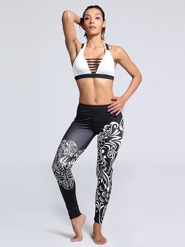 Women's Casual Yoga Comfort Daily Gym Leggings Pants Multi Color Flower Ankle-Length Print Black