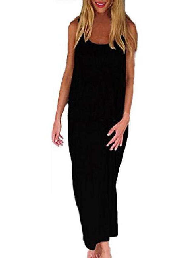 women's backless strapless baggy casual loose beach sundress long top maxi dress black uk 18/eu 46/it 48-50