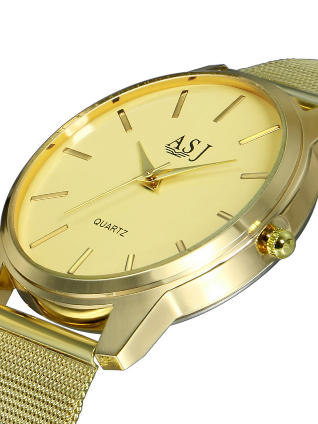 ASJ Men's Dress Watch Quartz Formal Style Casual Large Dial Analog Gold / Stainless Steel / SSUO LR626