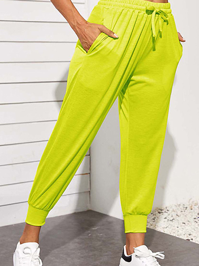 Women's Basic Casual Comfort Daily Jogger Sweatpants Pants Solid Color Full Length Drawstring Pocket Blue Yellow Green