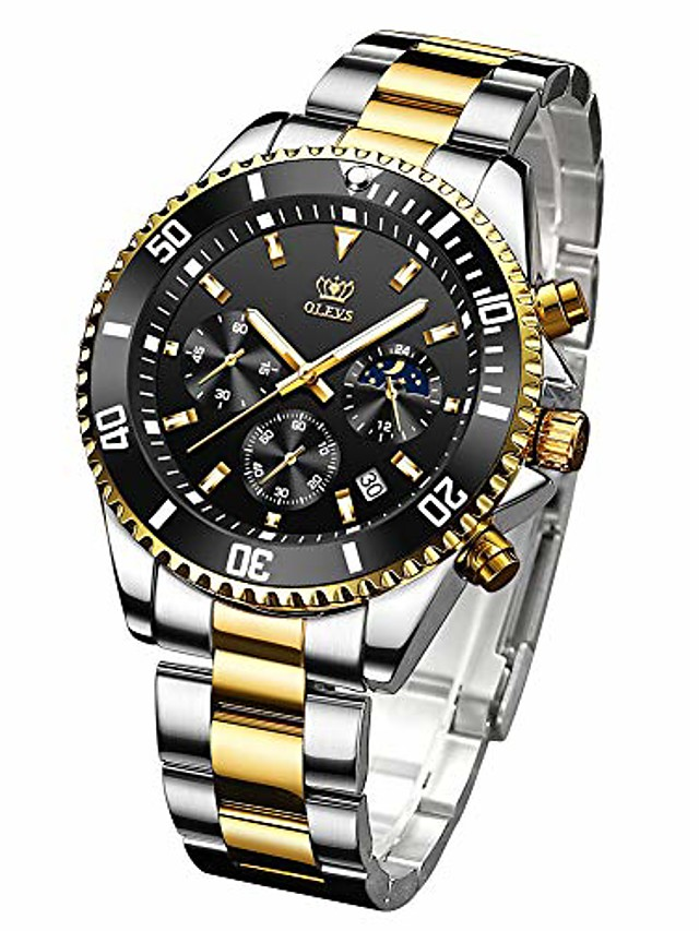 men's watches chronograph olevs brand stainless steel watch with date big face analog quartz waterproof luminous fashion business wrist watches for men gift (black)