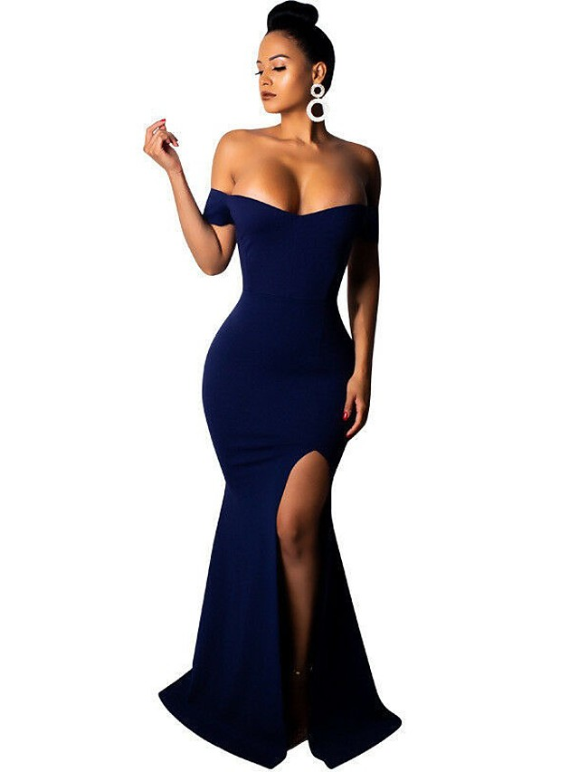 Mermaid / Trumpet Minimalist Sexy Wedding Guest Formal Evening Dress Off Shoulder Short Sleeve Sweep / Brush Train Spandex with Split 2020
