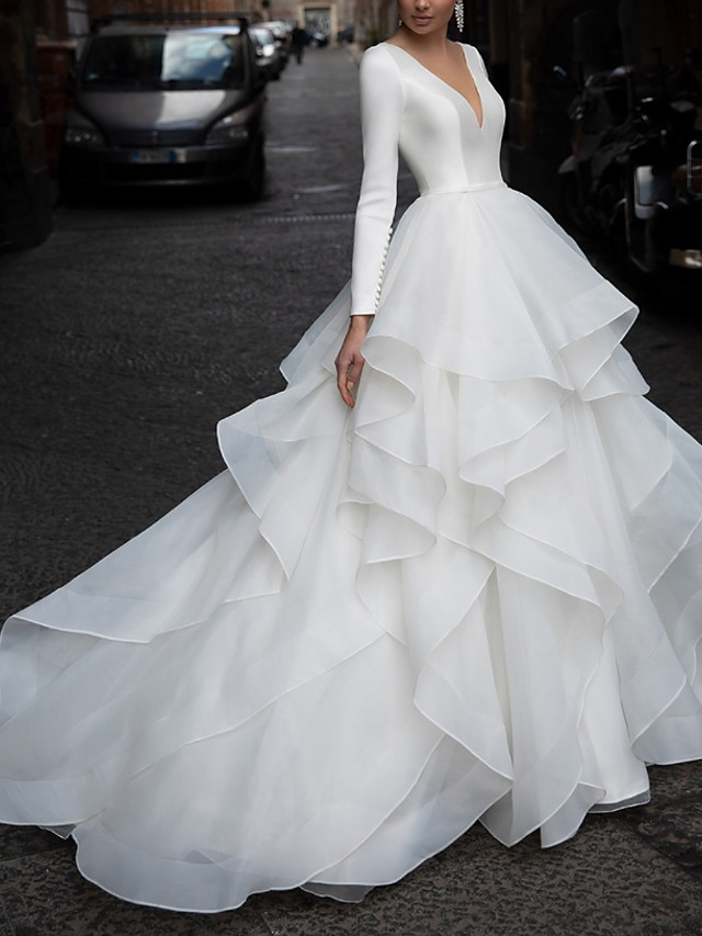 A-Line Wedding Dresses V Neck Court Train Organza Satin Long Sleeve Formal Luxurious with Pick Up Skirt Cascading Ruffles 2020