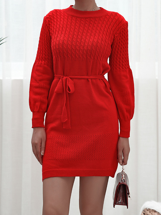 Women's Sweater Jumper Dress Short Mini Dress Long Sleeve Solid Color Lace up Patchwork Fall Winter Casual 2021 Red Blushing Pink M L XL