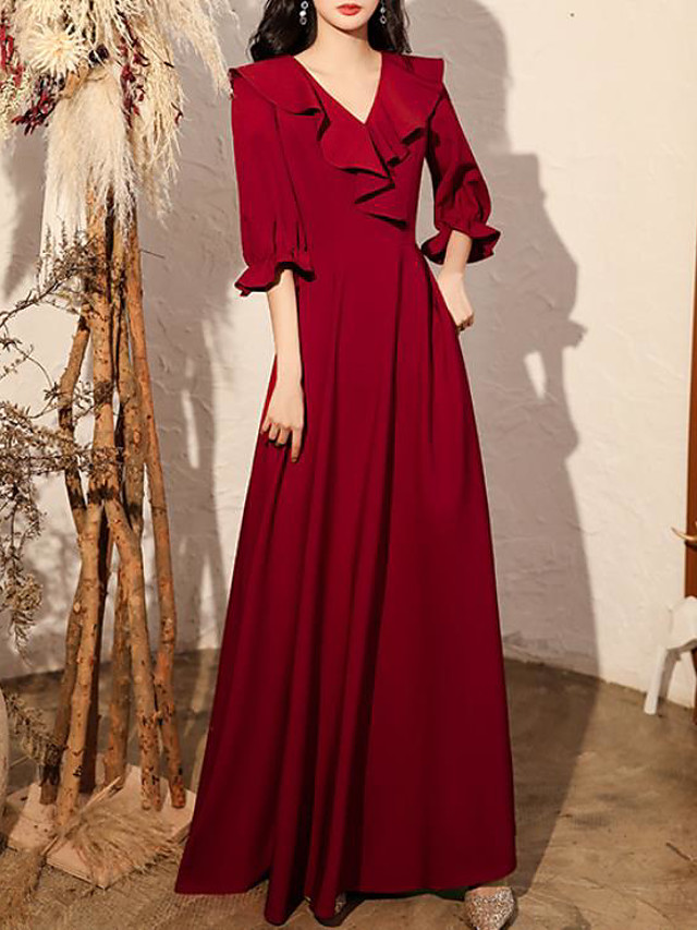A-Line Minimalist Elegant Engagement Formal Evening Dress V Neck Half Sleeve Floor Length Spandex with Pleats Ruffles 2020