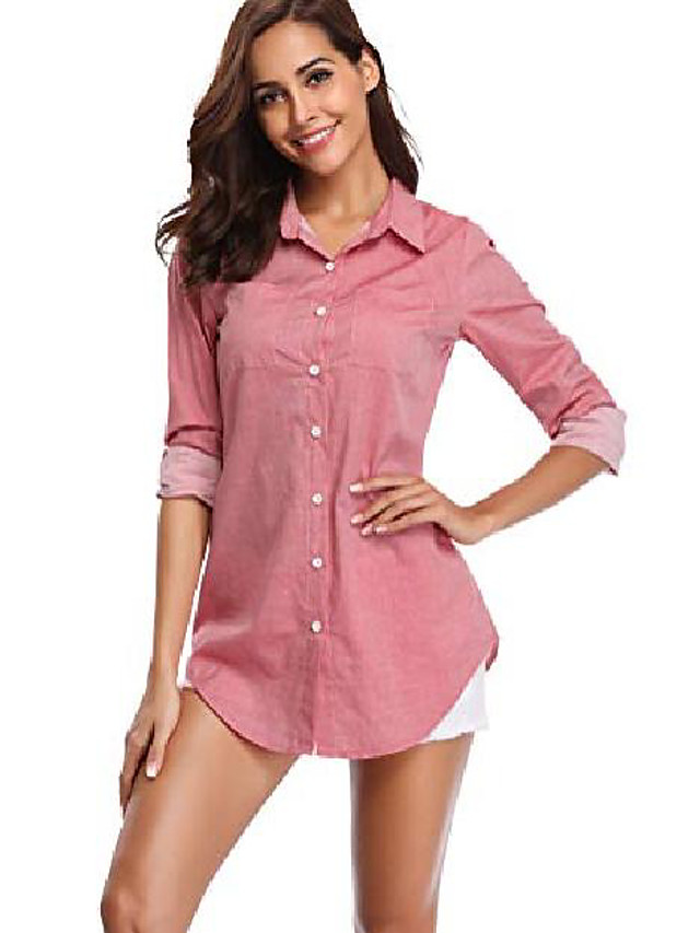 women's chambray button down shirt, long sleeve cotton blouse, long jeans tunic top light red 2x-large