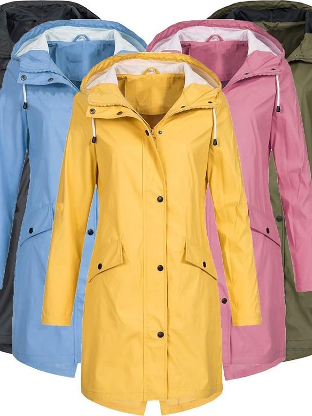 Women's Hoodie Jacket Rain Jacket Lightweight Windbreaker Outdoor Waterproof Windproof Breathable Quick Dry Long Coat Raincoat Top Hunting Fishing Climbing Pink Black Blue Yellow Green