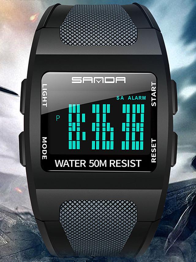 SANDA Men's Digital Watch Digital Digital Sporty Tonneau Outdoor Water Resistant / Waterproof Calendar / date / day Luminous / One Year / Silicone