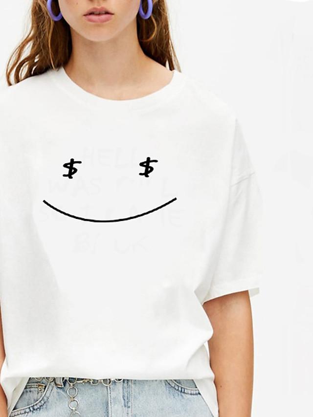 Women's T-shirt Graphic Prints Print Round Neck Tops 100% Cotton Basic Basic Top White Black Purple