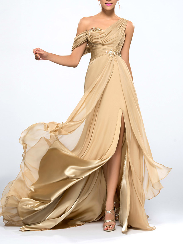 Mermaid / Trumpet Beautiful Back Sexy Wedding Guest Formal Evening Dress One Shoulder Sleeveless Sweep / Brush Train Chiffon with Split Appliques 2020