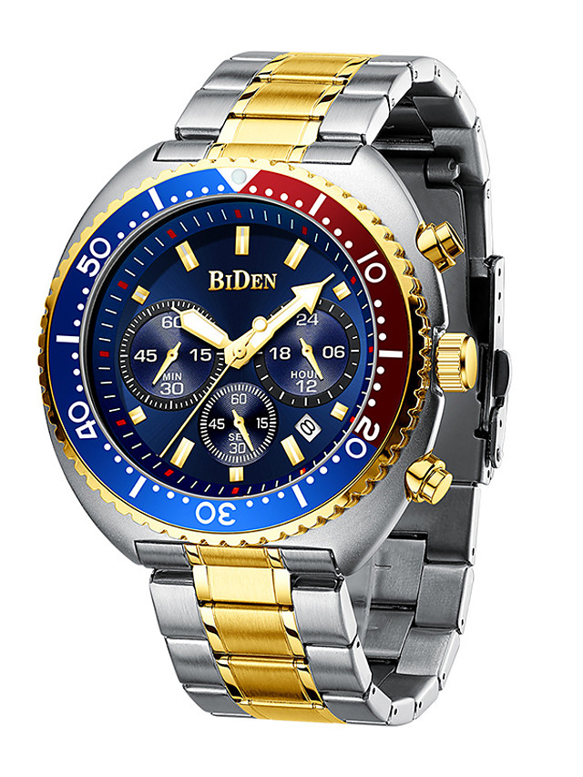 BIDEN Men's Steel Band Watches Quartz Modern Style Minimalist Water Resistant / Waterproof Calendar / date / day Large Dial Analog Black Blue Red / One Year / Stainless Steel / Japanese / Japanese
