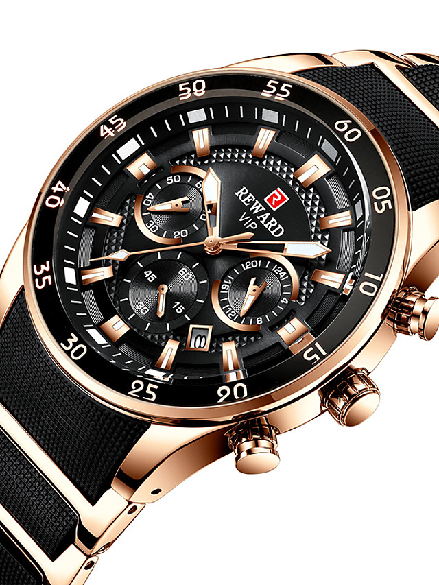 REWARD Men's Steel Band Watches Quartz Modern Style Classic Water Resistant / Waterproof Analog Rose Gold Black / Silver Black / One Year / Stainless Steel / Japanese