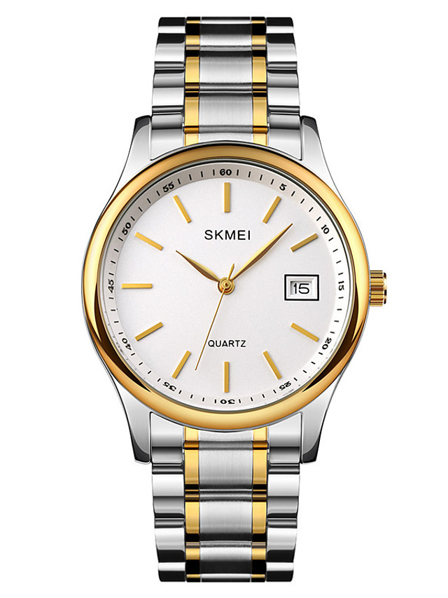SKMEI Men's Steel Band Watches Quartz Minimalist Shock Resistant Analog Gold Silver / One Year / Stainless Steel