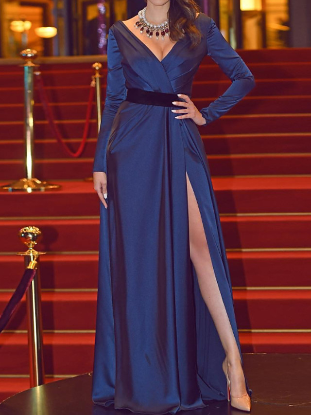 A-Line Minimalist Sexy Engagement Formal Evening Dress V Neck Long Sleeve Floor Length Stretch Satin with Split 2021