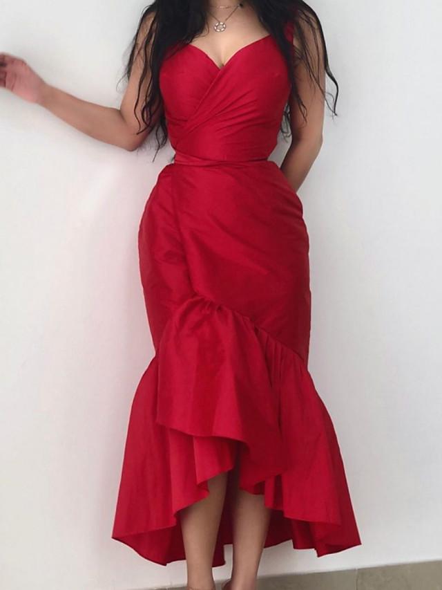 Sheath / Column Minimalist Sexy Engagement Cocktail Party Dress V Neck Sleeveless Asymmetrical Taffeta with Ruffles 2021