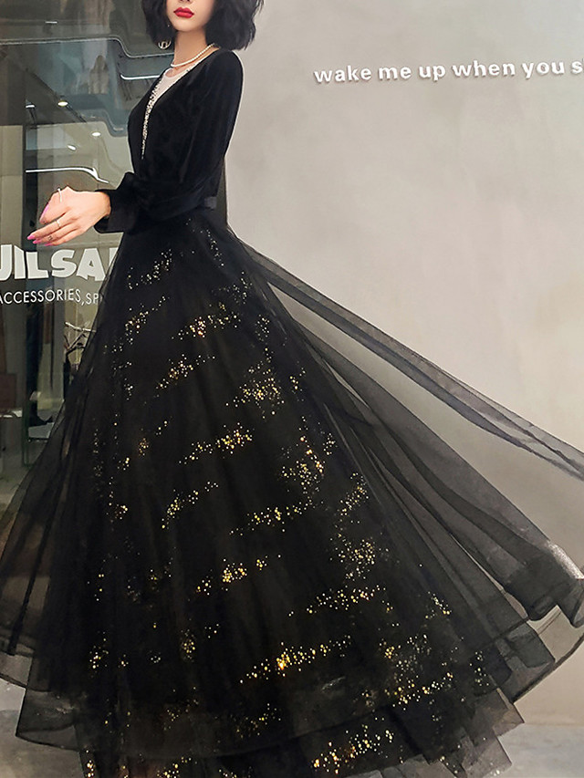 A-Line Glittering Vintage Wedding Guest Formal Evening Dress V Neck Long Sleeve Floor Length Tulle with Pleats Sequin 2021