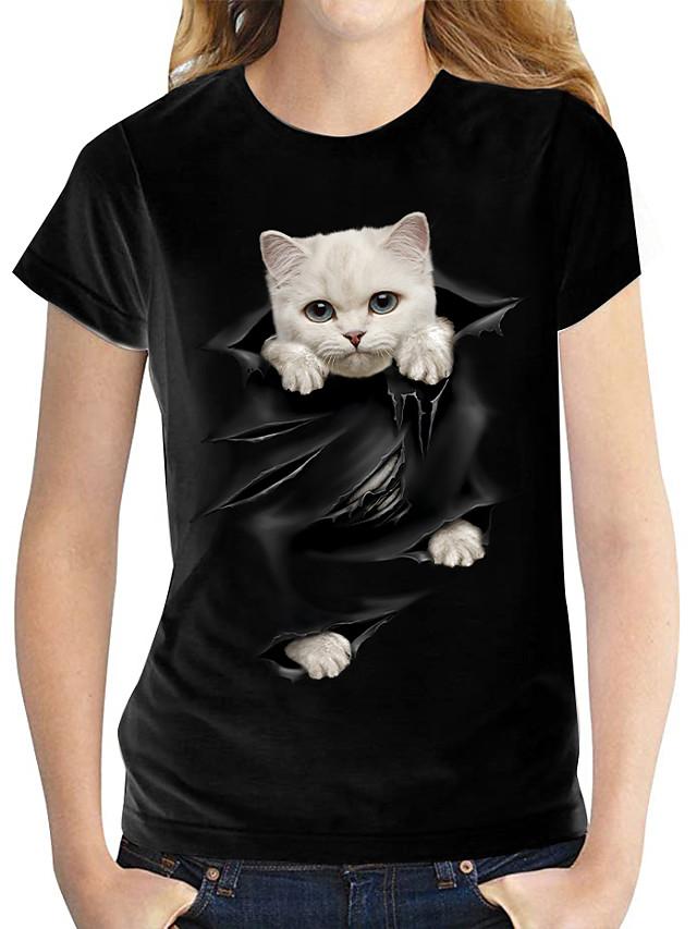 Pentru femei 3D Cat Tricou Pisica Grafic #D Imprimeu Rotund De Bază Topuri 100% Bumbac Alb Negru