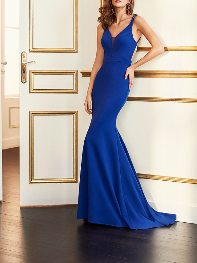 Mermaid / Trumpet Beautiful Back Sexy Engagement Formal Evening Dress V Neck Sleeveless Sweep / Brush Train Stretch Fabric with Pleats 2021