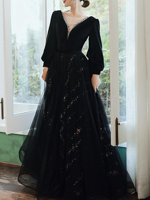 A-Line Glittering Elegant Prom Formal Evening Dress Illusion Neck Long Sleeve Floor Length Tulle with Pleats Sequin 2020